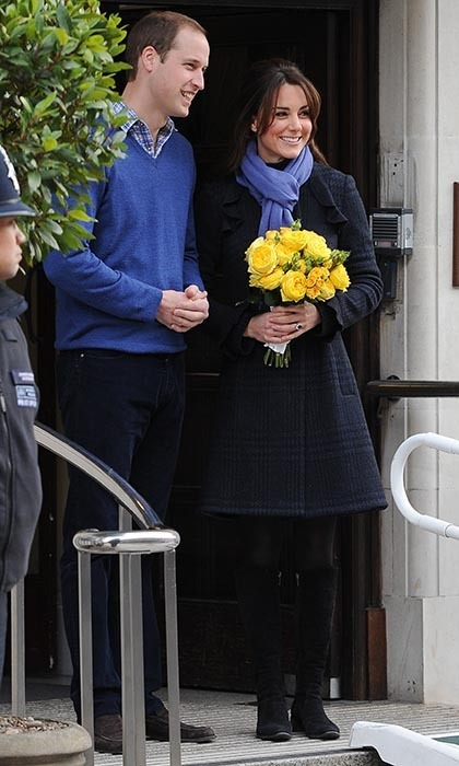 "After being treated for extreme morning sickness during the early stages of her pregnancy, Kate and Prince William were seen leaving the hospital with the Duchess holding a yellow bouquet of ""get well"" roses."