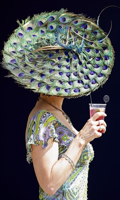 A female racegoer was out to impress in a hat made from peacock feathers at the annual event. 