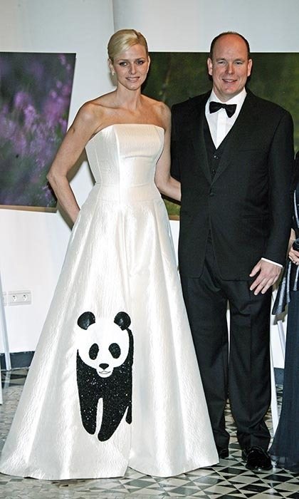 Charlene Wittstock caught the Prince's eye at the WWF International Panda Ball in 2008, where she wore an Isabel Christensen dress with the foundation's panda emblem embroidered on its skirt.