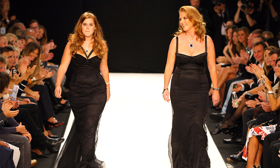 The Duchess of York and her daughter walked the catwalk in matching black gowns for the Fashion For Relief Show during London Fashion Week in 2007. 