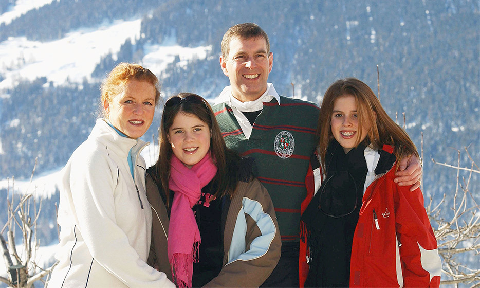 During a family holiday in Switzerland, the Yorks got bundled up for an outdoor photo call before hitting the slopes. 