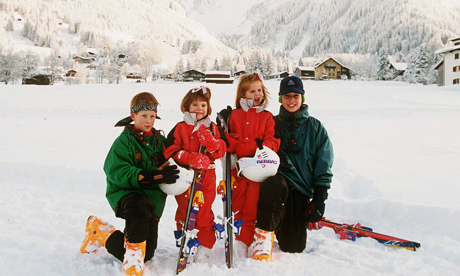 The whole gang's here: Prince Harry, Princess Eugenie, Princess Beatrice and Prince William posed for a photo during a family ski trip in Switzerland in 1995. 