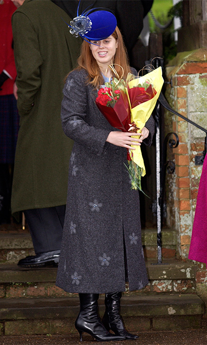 Wearing a feathered hat, fashionable kitten heels and a broad smile that showed off the teen's braces, Princess Beatrice presented the royal family with a bouquet of flowers after a church service in 2002.
