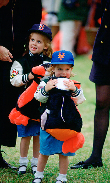 Donning a baseball cap and a letterman's jacket paired with a denim skirt, five-year-old Beatrice showed off her sporty-chic style at a Windsor horse show. 
