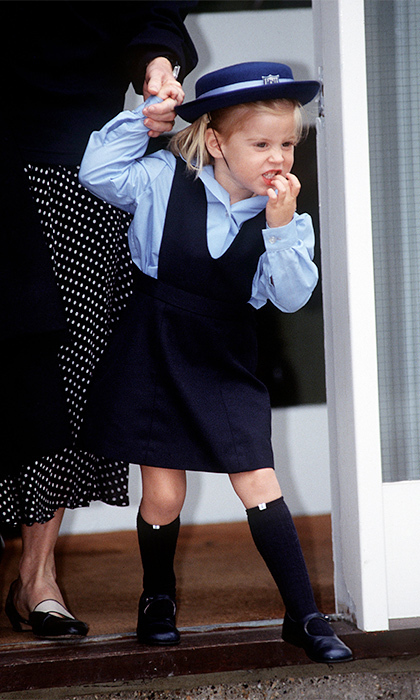 It was her first day at nursery school and Beatrice was nervous. She put her best foot forward in the Upton House School's adorable navy-blue uniform. 