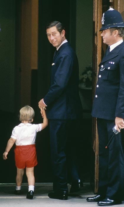 <p>Prince William and his father, Prince Charles, arrived at St. Mary's Hospital on Sept. 15, 1984 to visit William's newborn brother, Prince Harry.</p>