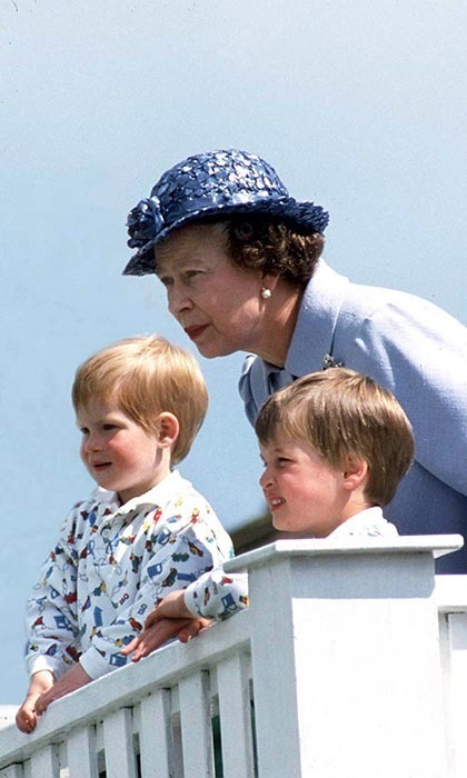 <p>The Queen took her grandchildren to a polo match in 1987.</p>