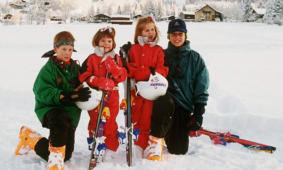 <p>Prince William, Prince Harry and cousins Princess Beatrice and Princess Eugenie were snapped while on a family ski trip in Switzerland in 1995.</p>