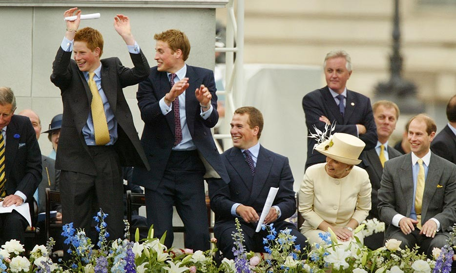 "<p>The playful princes did ""the wave"" outside during Queen Elizabeth's Golden Jubilee in 2002.</p>