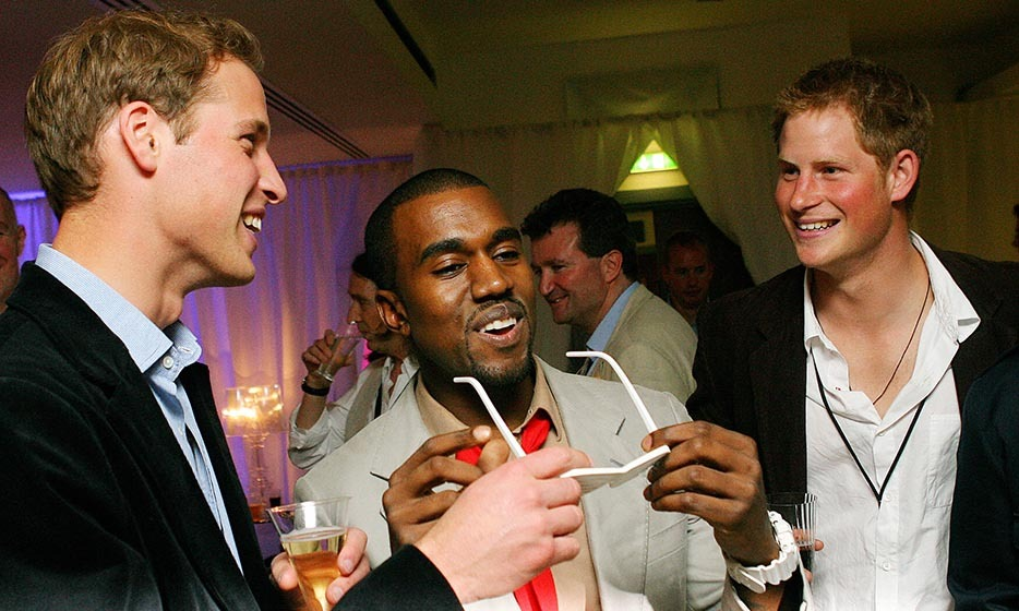 <p>Kanye West shared a joke with the royal brothers in July 2007. The rapper was invited to perform during a six-hour long extravaganza that was held in memory of Princess Diana.</p>
