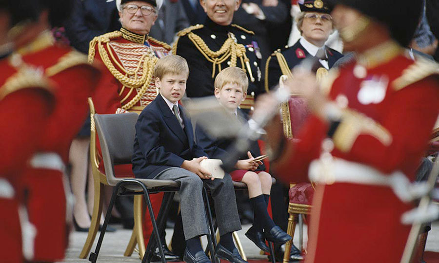 <p>We can forgive the young boys for being slightly bored at the 'Beating The Retreat' ceremony outside Kensington Palace in in 1989.</p>