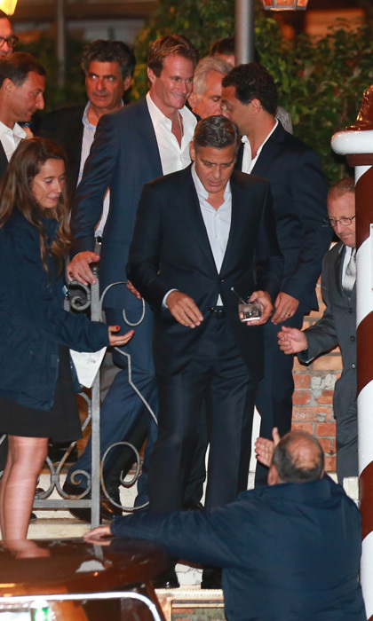 George Clooney and best friend Rande Gerber seen leaving the Cipriani Hotel tequila in hand.