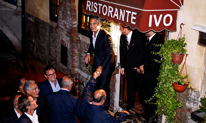 Before joining his bride, George Clooney had a boys-only celebration at Da Ivo restaurant.
