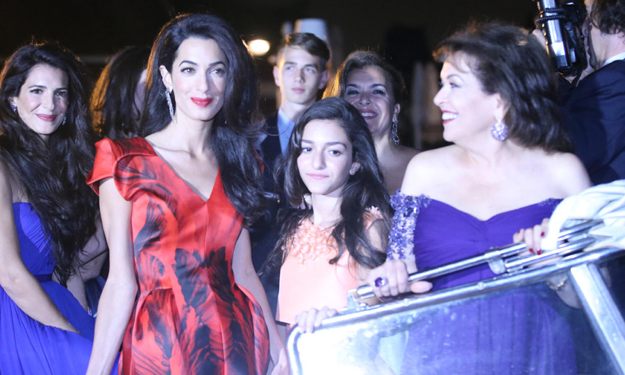 On the Friday evening before the nuptials, Amal, her sister Tala and mother Baria attended a pre-wedding party at the Belmond Cipriani. Photo: © Getty Images