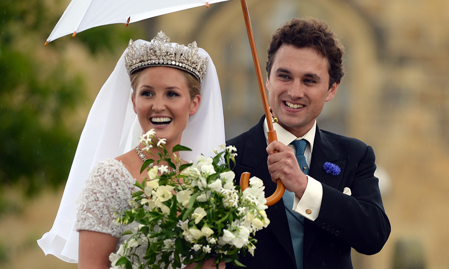 "Lady Melissa ""Missy"" Percy and her husbad, Thomas van Straubenzee, are close with Princes Harry and William. They attended their society wedding (dubbed the ""Royal Wedding of the North"") in 2013 along with Pippa Middleton, Princess Eugenie, Cressida Bonas, Princess Beatrice and her boyfriend, Dave Clark. (Photo © Getty)"