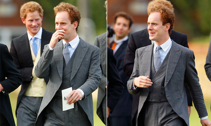 Tom Inskip is pictured attending a wedding with Prince Harry. (Photo © Getty)