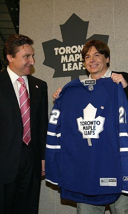 Mike Myers grew up in Scarborough, Ontario, so he's got a soft spot for the Toronto Maple Leafs. In 2008, Mike played Guru Maurice Pitka in 'The Love Guru,' a film that told the story of a Indian life coach attempting to help a struggling Toronto Maple Leafs player regain his confidence. (Image: David Sandford/Getty Images)