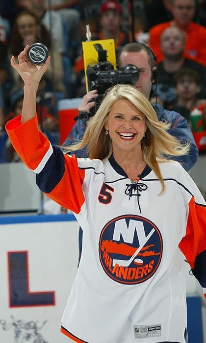 Christie Brinkley has a family of hockey fans and they all love the New York Islanders. The model-actress is such a big fan, the team asked her to drop the puck launching their 2007-2008 season. (Image: Bruce Bennett/Getty Images)