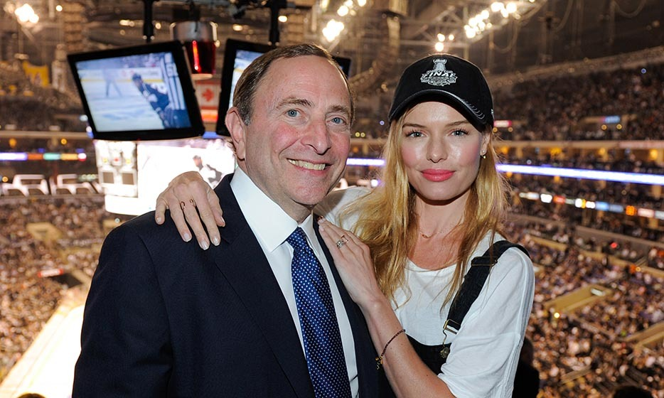 A date night could mean anything, including game one of the NHL Stanley Cup finals. That's what Kate Bosworth (here with NHL commissioner Gary Bettman) and husband Michael Polish did in June 2014, when the New York Rangers faced off against the Los Angeles Kings. (Image: Noel Vasquez/Getty Images)