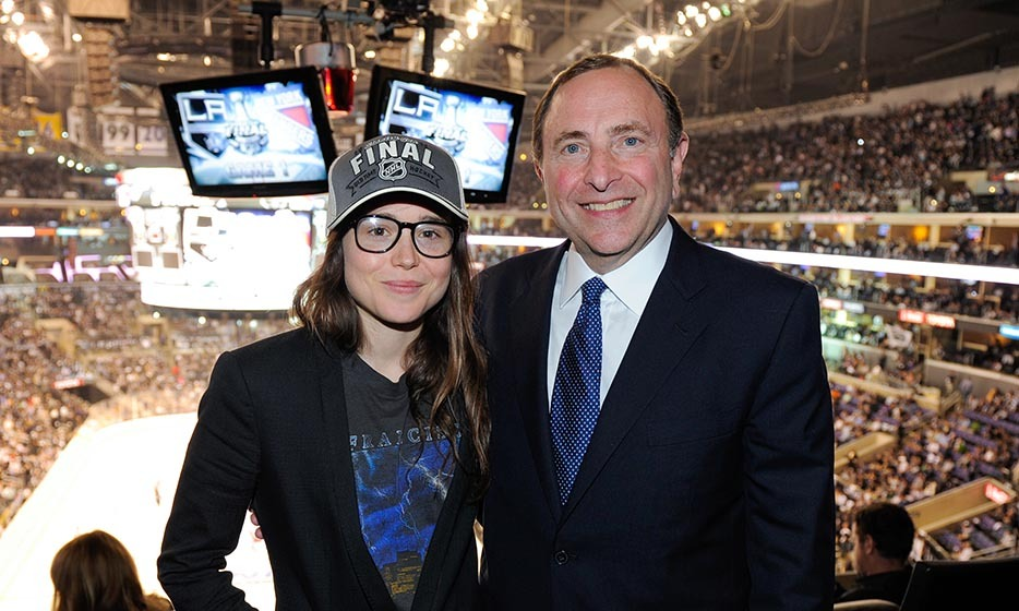 Ellen Page may be Canadian, but she is a proven Los Angeles Kings mega-fan. The 'Juno' actress, here with NHL commissioner Gary Bettman, attended all three home games during the Kings' fight for the Stanley Cup in 2014. (Image: Noel Vasquez/Getty Images)