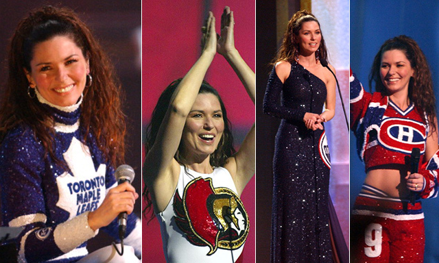 Shania Twain isn't just a fan of one Canadian hockey team – she loves them all. That's the message she sent when she hosted the 2003 Juno Awards, donning four custom-made looks that mimicked the jerseys of the Toronto Maple Leafs, Ottawa Senators, Edmonton Oilers and Montreal Canadiens. (Image: George Pimentel/Getty Images)