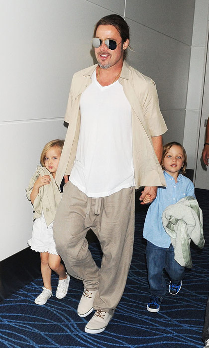 Brad Pitt and Angelina Jolie's twins, Knox Leon and Vivienne Marcheline, were born in 2008 and first appeared in the pages of 'Hello!' The A-list couple has four other children: Shiloh Nouvel, Maddox Chivan, Pax Thien and Zahara Marley. (Image: Getty)
