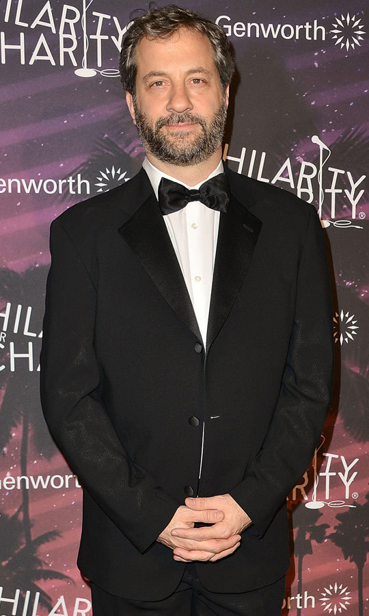 Judd Apatow dressed formally in a black-and-white tuxedo, adding a hint of glamour to the 1980s-inspired, prom-themed gala. (Image: Getty)