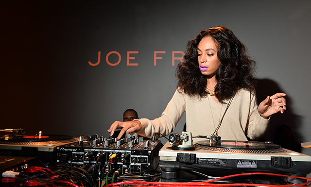Solange wore her hair full and a slick of violet lipstick to DJ the Joe Fresh party. (Photo: Joe Fresh)