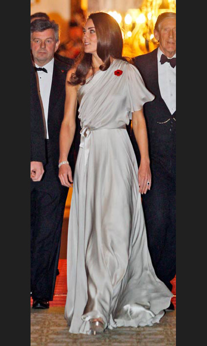 Going Grecian in Jenny Packham at a gala dinner in London in November, 2011.