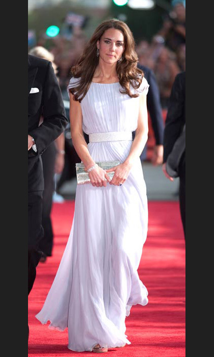 Kate called upon her favourite design house Alexander McQueen to create the stunning pastel lilac gown she wore to the BAFTA Brits To Watch event in Los Angeles in July, 2011.