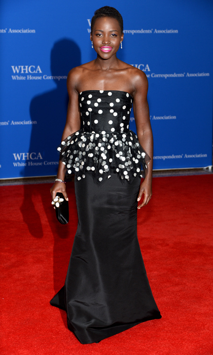 Lupita Nyong'o topped everyone's best-dressed lists this year after attending the White House Correspondents' dinner in a strapless, peplum-waisted gown with polka dots on the bodice. (Photo by Dimitrios Kambouris/Getty Images)