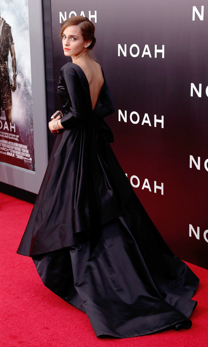 With its dramatic deep V in the back, Emma Watson's black satin ball gown stole the show at the 'Noah' premiere. (Photo by Taylor Hill/FilmMagic)