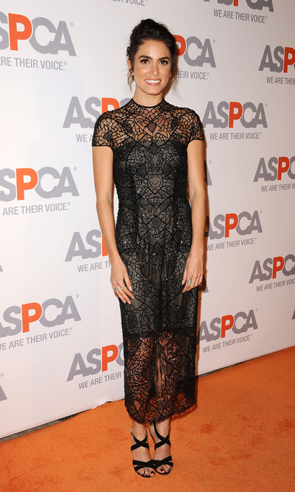 Actress Nikki Reed stunned at the ASPCA Compassion Awards in a geometric embroidered Monique Lhuillier gown and Jimmy Choo sandals.