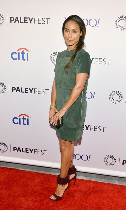 Jada Pinkett Smith opted for a jade, suede Proenza Schouler shift dress with statement-making fringe Alaia sandals for Gotham's PaleyFest presentation in New York.