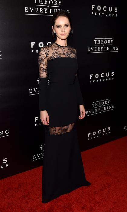 Felicity Jones went for full length Elie Saab at the 'Theory of Everything' premiere in New York, looking every inch the leading lady in a lace-paneled piece from the designer's resort 2015 collection.