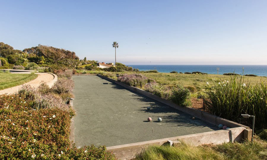 Bocce, anyone? Lady Gaga's house has a bocce court overlooking the beach, adding even more ways to stay entertained at home. (Image: Zillow)
