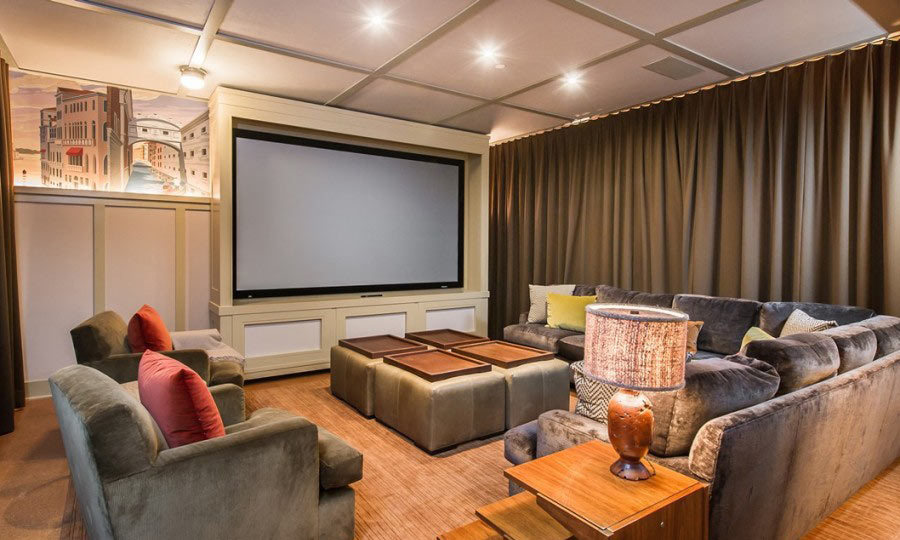 This home theatre offers ample space to entertain friends, but it could also serve as a place for reviewing past concerts to refine choreography and dissect vocals. (Image Zillow)