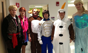 From left to right: Kevan Miller as Kristoff, Canadian Matt Fraser as Princess Anna, Matt Bartowski as Sven the reindeer, Seth Griffith as the prince Hans, and Torey Krug as loveable Olaf the snowman and Dougie Hamilton and Elsa.