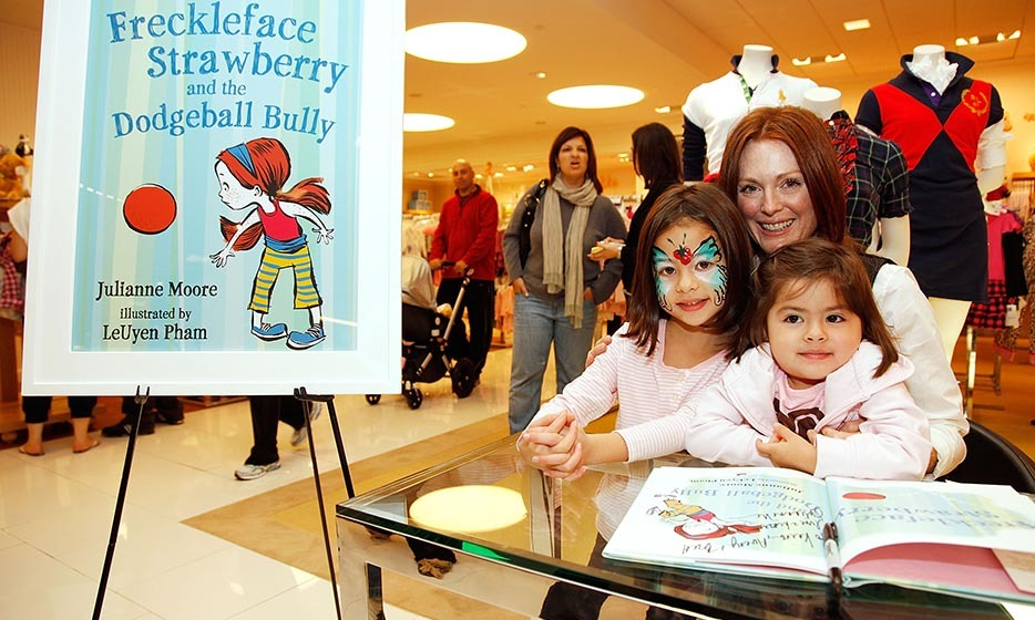 Julianne Moore's first book, 'Freckleface Strawberry,' was published in 2007 and became a bestseller. The story follows a young girl who is ashamed of her freckled face but learns to accept it over time. Julianne followed up the effort with 'Dodgeball Bully' in 2009 and 'Freckleface Strawberry: Best Friends Forever' in 2011. <p>Photo: © Joe Kohen/WireImage