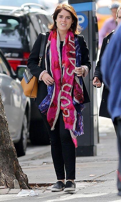 "The princess was spotted on the streets of NY sporting a scarf that said, ""God Save the Queen."" Photo © XactpiX/Splash News"
