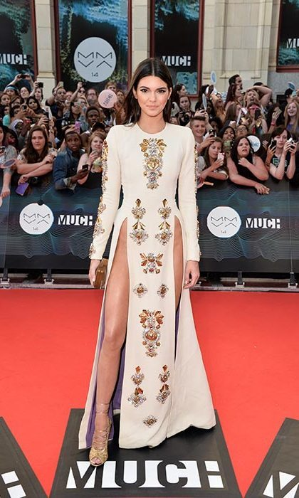 Kendall turned heads on the 2014 MuchMusic Video Awards red carpet in this daring embellished gown. Photo: © Getty Images