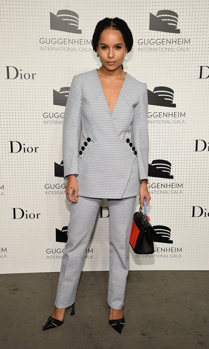 Zoe Kravitz arrived at the Dior-sponsored Guggenheim gala pre-party in a full look from the fashion house: black and white jacquard blazer set, vintage pumps and a leather handbag. (Image: Getty Images)