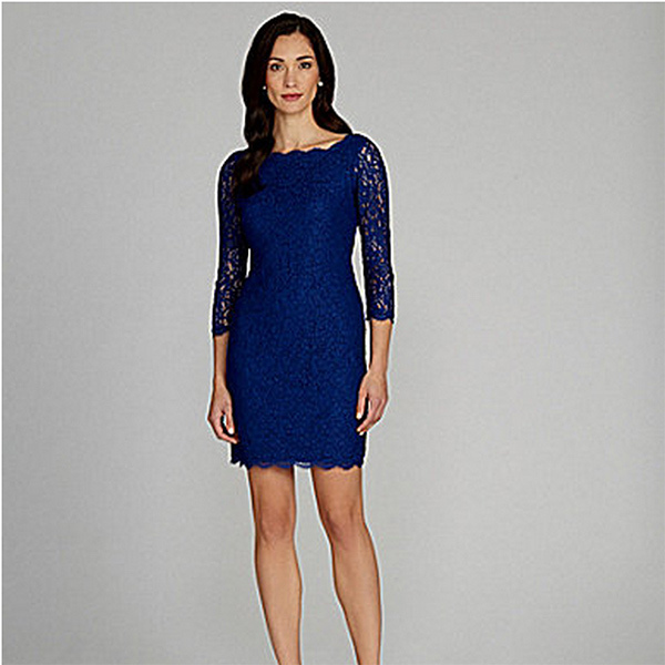 Adrianna Papell Scalloped Lace Sheath Dress, 167.24. Available at Dillards.com