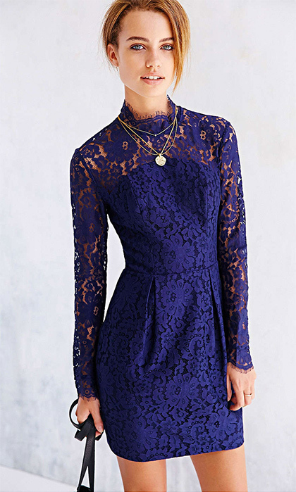 Keepsake Run The World Long-Sleeve Lace-Top Shift Dress, $190. Available at Urban Outfitters.