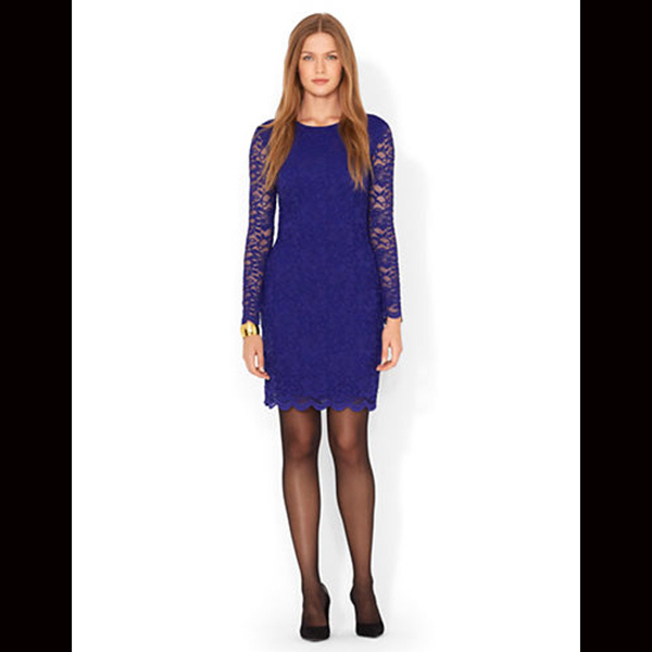 LAUREN RALPH LAUREN Stretch Lace Scalloped Dress, $206. Available at the Bay.
