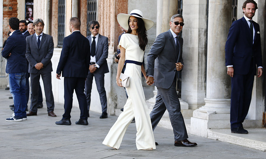 c20019be6f2 Amal Alamuddin was the epitome of chic in a white top and wide-leg pants