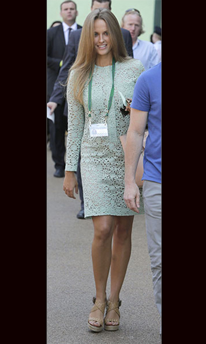 In a chic mint dress to watch Andy Murray in the match that would see him win Wimbledon. Photo: © Getty Images