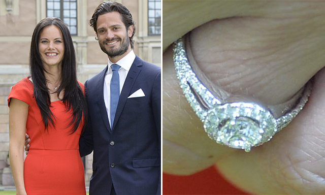 "SOFIA HELLQVIST: Prince Carl Philip of Sweden proposed to former glamour model Sofia Hellqvist with an unusual, circular ""halo"" ring, which consists of smaller diamonds surrounding a main diamond."