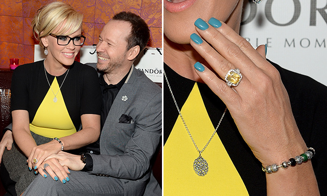 JENNY MCCARTHY: Donnie Wahlberg proposed to Jenny McCarthy in April with a 10-carat yellow sapphire surrounded by nearly two carats of smaller diamonds.