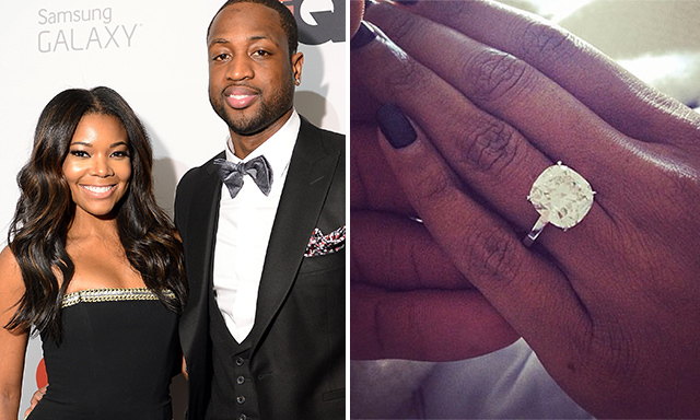 GABRIELLE UNION: Basketball star Dwayne Wayde popped the question to actress Gabrielle Union with an enormous $1-million, 8.5-carat cushion-cut diamond.